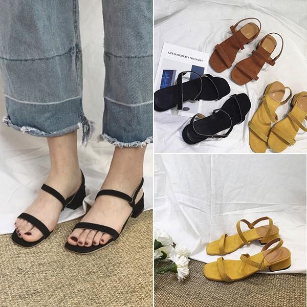 ~ ~女士單鞋中跟涼鞋chic 風氣質百搭絨面方頭小方跟壹字式涼鞋 露趾鞋