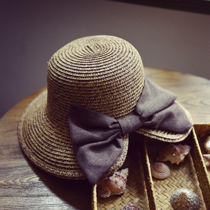 ☁ 韓國優雅蝴蝶結開叉草帽遮陽帽子女士度假防曬夏天太陽帽棒球帽帽子素色帽嘻哈街舞帽平沿帽表