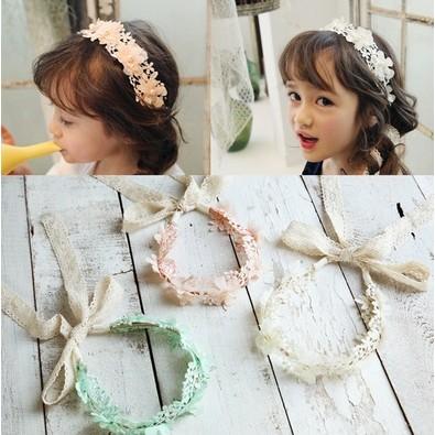 小圖藤 ~~韓國髮帶女童超仙花朵蕾絲飄帶髮箍女孩髮箍髮帶