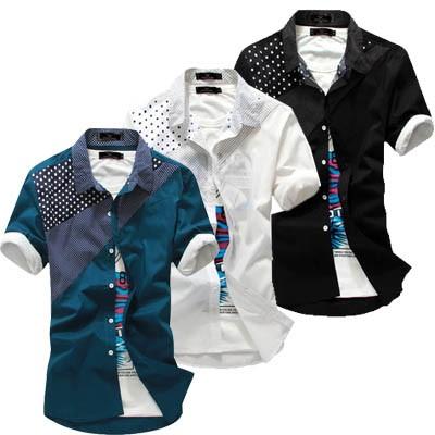 2015  男士短袖襯衫男式 修身波點拼接襯衣 潮流英倫