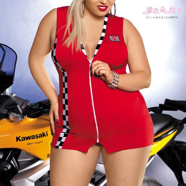 連身裙賽車服中大 XXL 賽車女郎角色扮演服飾紅色連身裙賽車服加大尺寸前拉鍊洋裝愛衣朵拉C