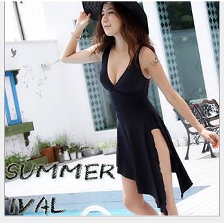 游泳衣女連體開叉黑色裙式開衩比基尼溫泉加大碼泳裝