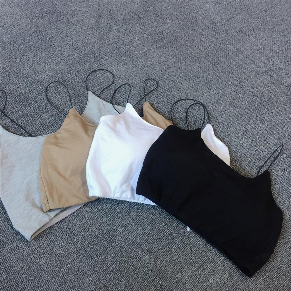 ☀ 實拍☞2017  純色百搭性感露臍短款裹胸吊帶小背心有胸墊舒適內搭簡約款防走光打底抹胸