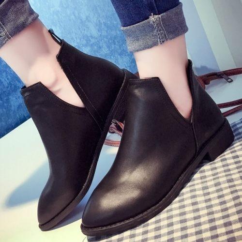 踝靴.韓系帥氣女孩V 口簡約短靴.白鳥麗子