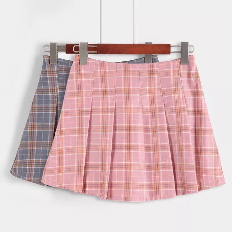 日系森林系百搭復古學院風格子格紋甜美百摺裙短裙防走光