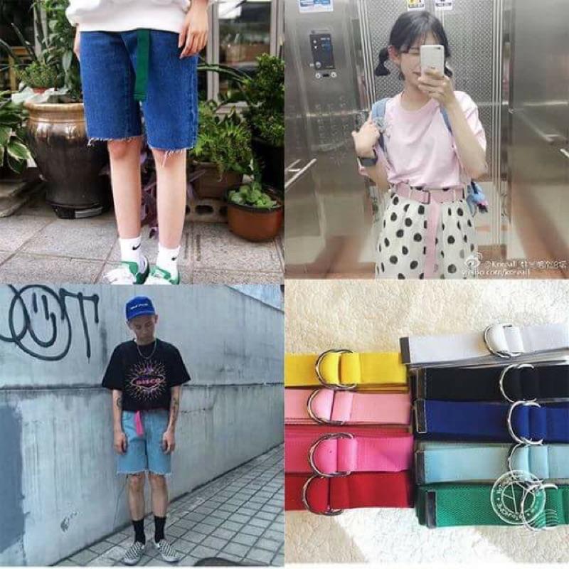 韓國原宿zipper 百搭超長帆布腰帶