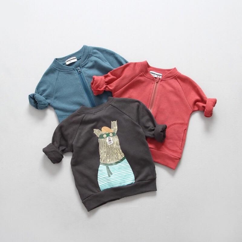 女童男童兒童寶寶嬰兒可愛卡通圖案印花毛圈棉長袖立領外套夾克大象米奇