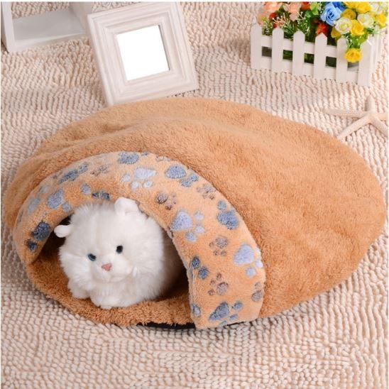 ~ ~貓咪睡窩睡袋超厚超軟小爪印貓睡袋漢堡式貓窩漢堡式貓睡袋貓咪最愛