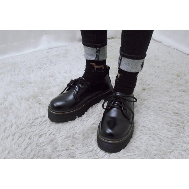 復古黑皮鞋英倫綁帶學院風學生鞋大頭厚底圓頭牛津鞋中高跟平底低筒馬丁古著百搭vintage