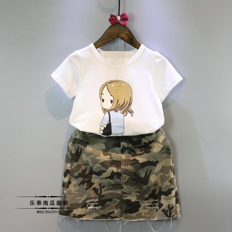 5 折 零碼 韓劇太陽女孩短袖t 卹迷彩裙套裝