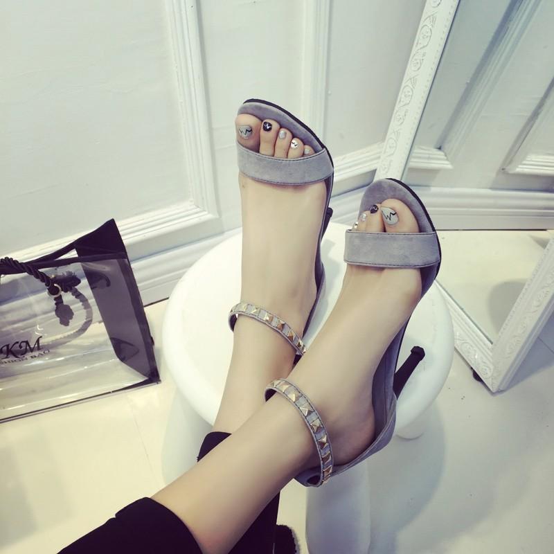 高跟鞋夏天 女士簡約細跟高跟鞋涼鞋女夏 潮露趾一字式扣帶女鞋子高跟鞋尖頭高跟鞋羅馬涼鞋尖頭