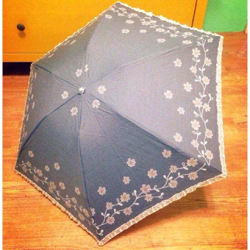 灰色咖花布面輕便晴雨傘~ 抗uv 遮光勾勾傘僅有一把