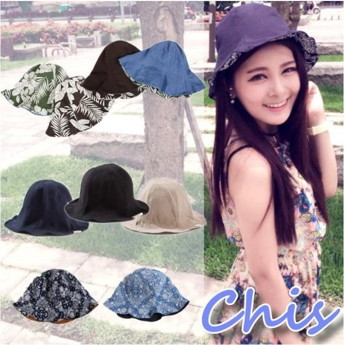 Chis Store ~正韓國~春夏新品男女情侶兩面素面幾何民族風小碎花漁夫帽盆帽遮陽帽子