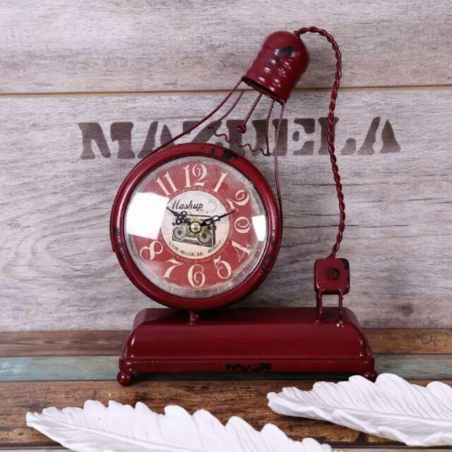 燈泡 時鐘美式鄉村  鐵藝模型擺件酒吧裝飾鐘電燈泡