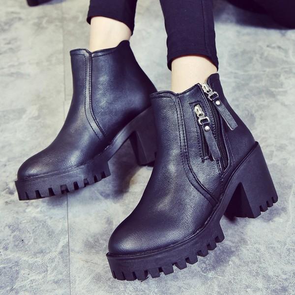 潮2016 秋 女靴子厚底馬丁靴女鞋粗跟短靴高跟裸靴粗跟中筒靴子