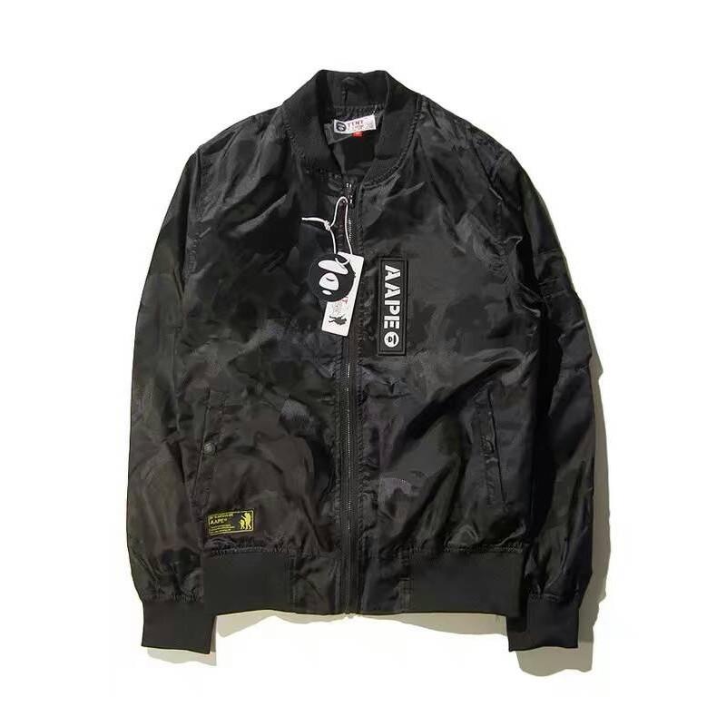 2016 AAPE  迷彩暗花男士薄款外套3M 反光字母 棒球衣棒球服防風外套