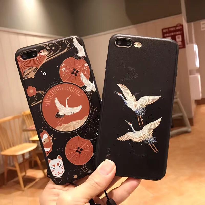 仙鶴浮雕蘋果7plus 保護套iphon6plus 硅膠套全包iphone7 軟殼6s 掛