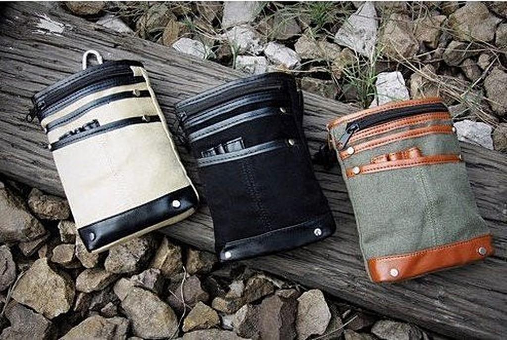 ~ ~腰包男士腰包攀岩包後掛包男款帆布包多夾層腰包6 寸手機包香菸包零錢包