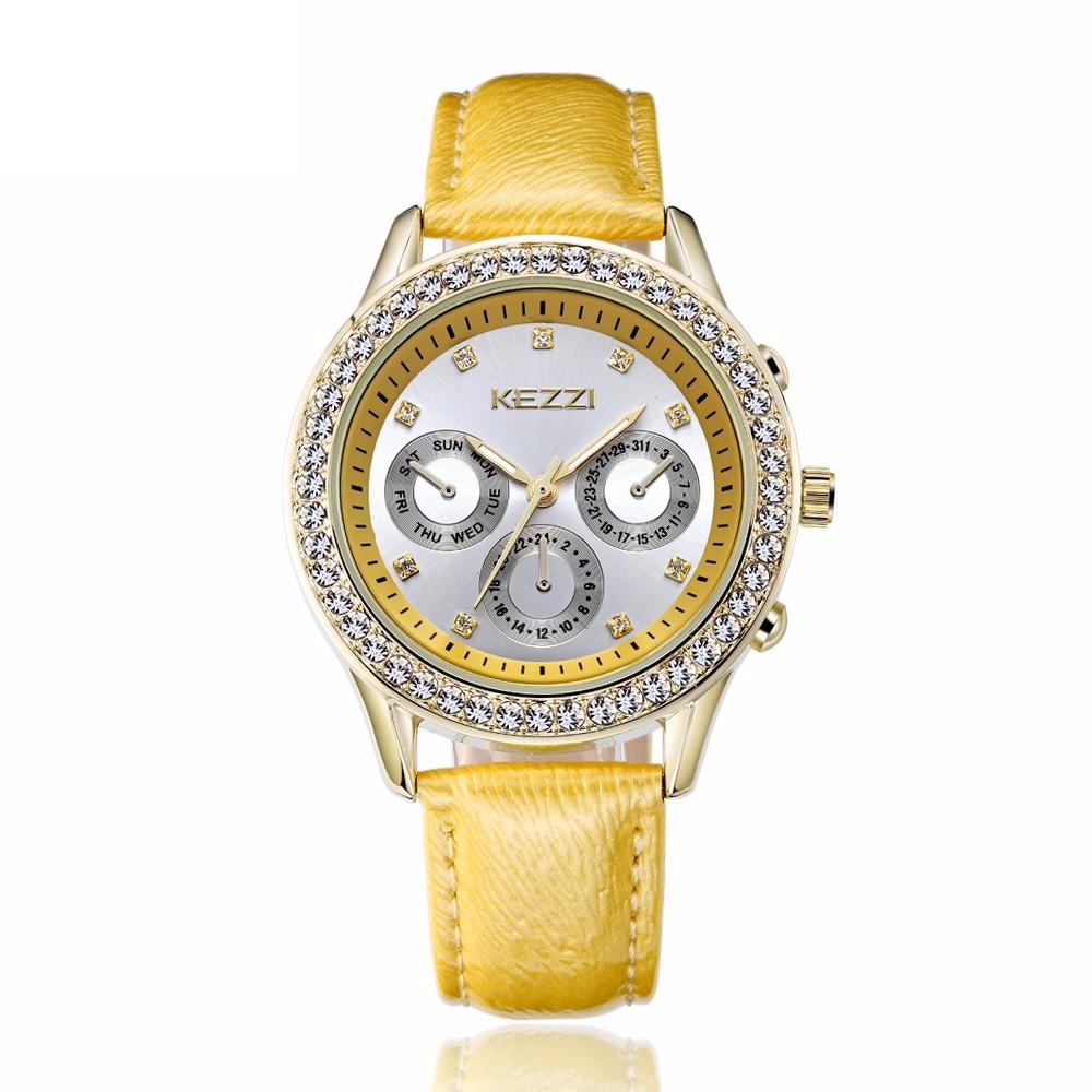 KEZZI 品牌手錶女士皮革石英 休閒奢華水鑽觀看MONTRE FEMME 30 米防水R