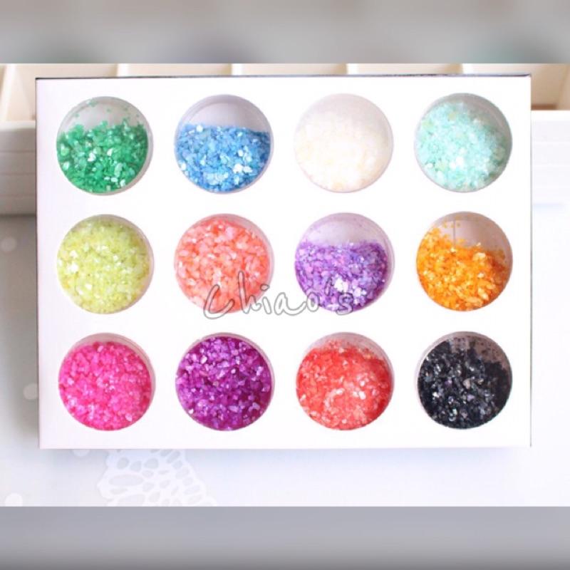 日系天然貝殼粉貝殼亮片細緻款12 色一套( )