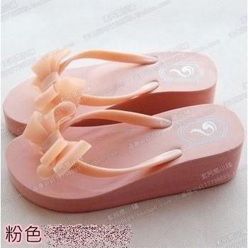 ╭~蝴蝶結夾腳拖鞋涼鞋人字拖鞋厚底高跟鞋~gwj0003 ~Grace Style