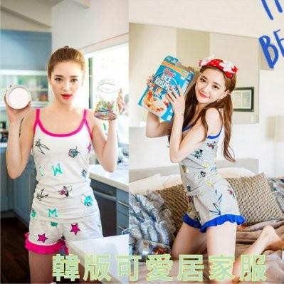 韓國超可愛卡通居家服睡衣純棉背心居家休閒版型超棒兩件式性感可愛 pink 女朋友愛死了