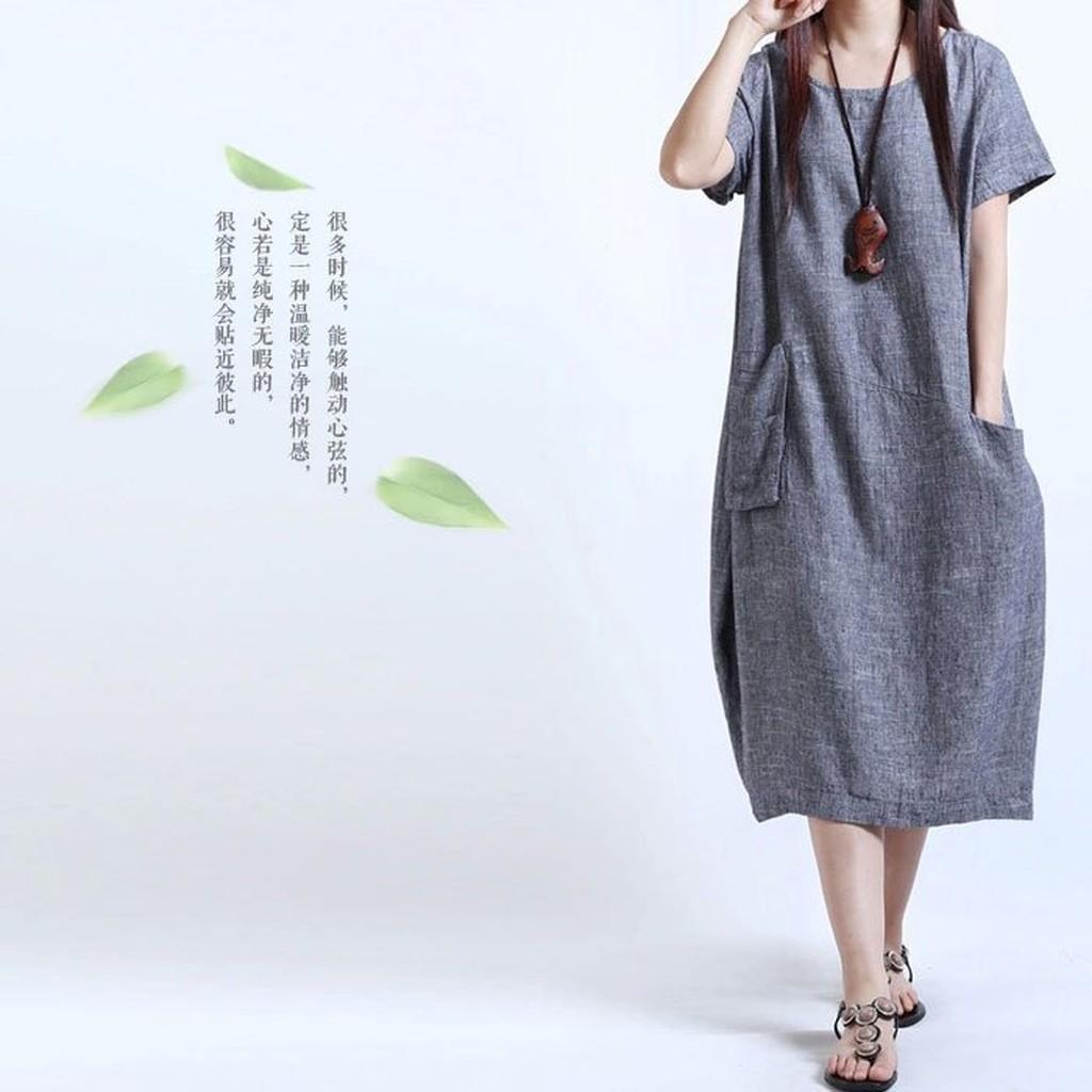月波兒日系不對稱口袋寬鬆棉麻洋裝~QYMY105 ~
