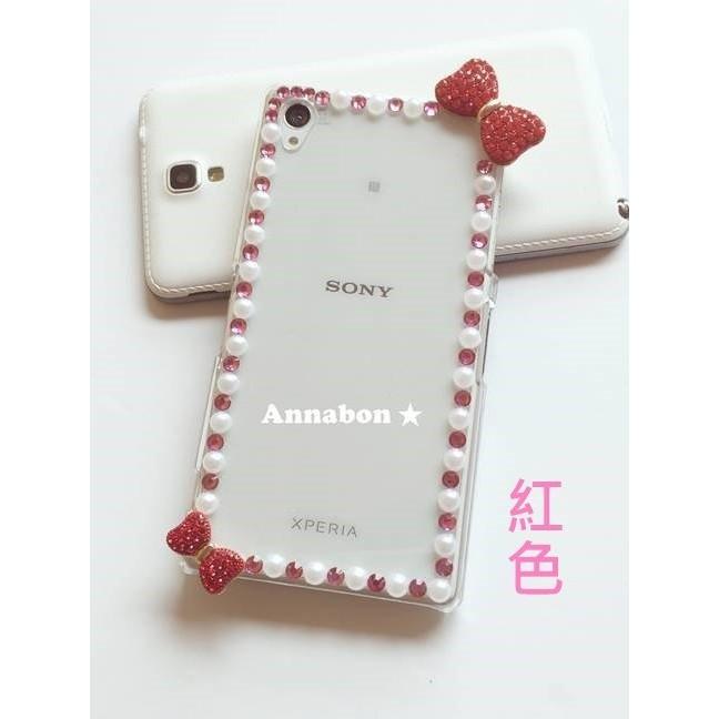 ~Annabon ~蝴蝶結珍珠粉紅水鑽iphone7 iphone7plus 貼鑽紅色桃紅