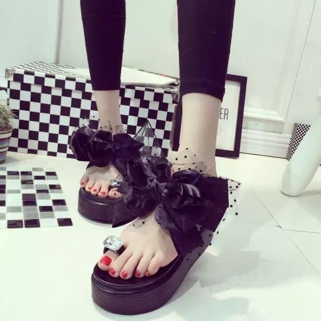 鞋館 套趾水鑽蕾絲涼拖女厚底鬆糕大花蝴蝶結夾腳拖鞋