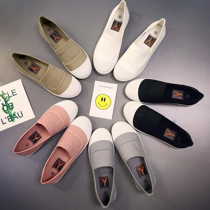 一腳蹬豆豆女鞋透氣小白鞋休閒懶人鞋平跟單鞋平底