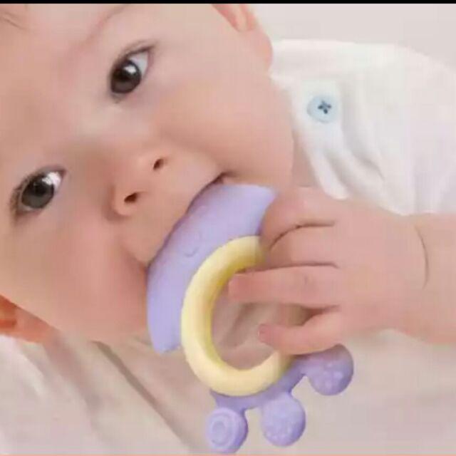 嬰兒卡通牙膠硅膠軟頭寶寶咬咬膠磨牙玩具固牙器安全無毒固齒牙膠器嬰幼兒用品寶寶咬咬樂卡通圖案