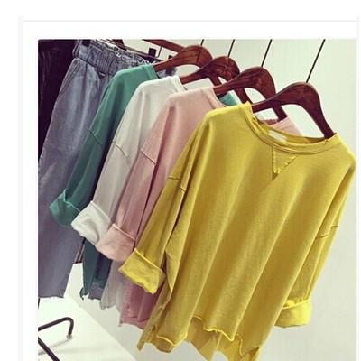 正韓韓系糖果色簡約寬鬆顯瘦開叉純色圓領破洞百搭長袖T 恤