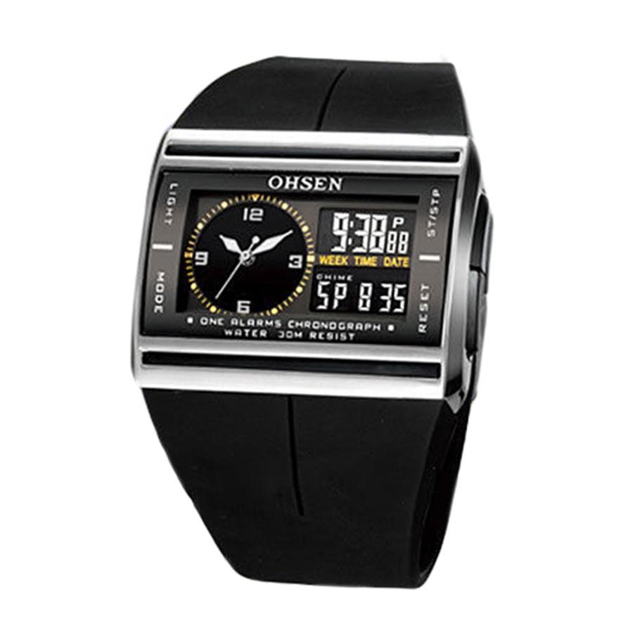 男士OHSEN 數碼LED 日期橡膠 防水手錶