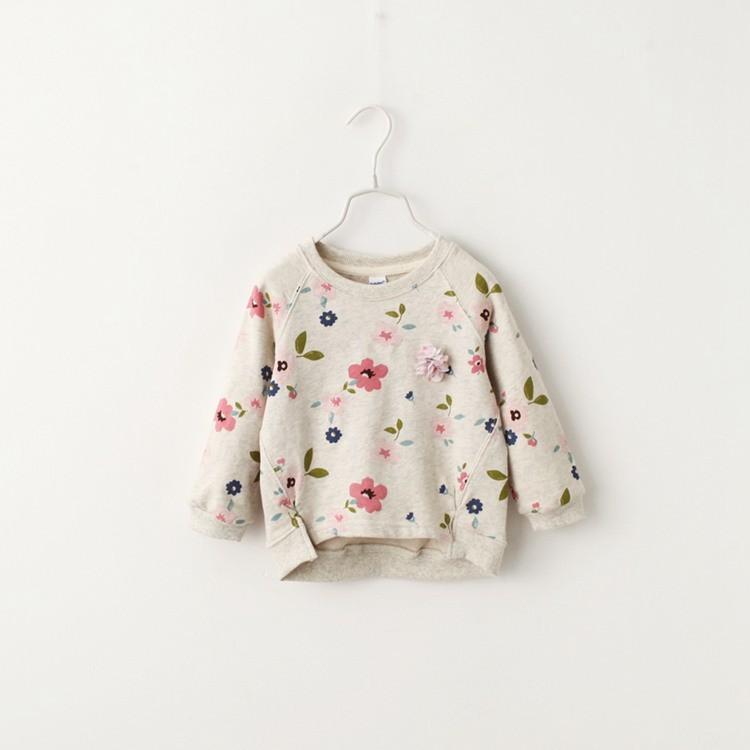 花露米 2016 秋裝新 女童衛衣純棉打底衫清新花朵圓領兒童寶寶長袖上衣T 恤
