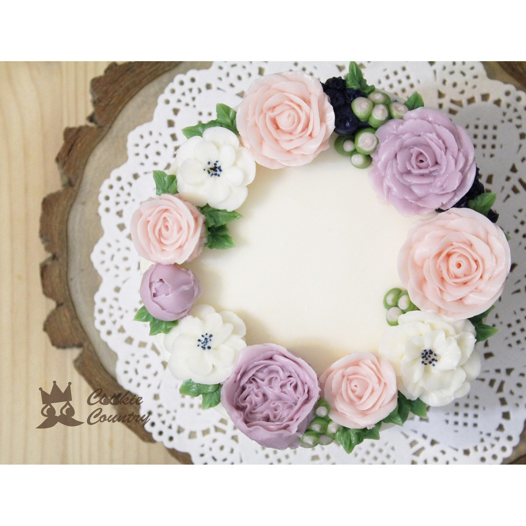 Cookie Country 韓式擠花玫瑰花蛋糕母親節蛋糕客製化蛋糕婚禮蛋糕粉嫩春語花圈蛋