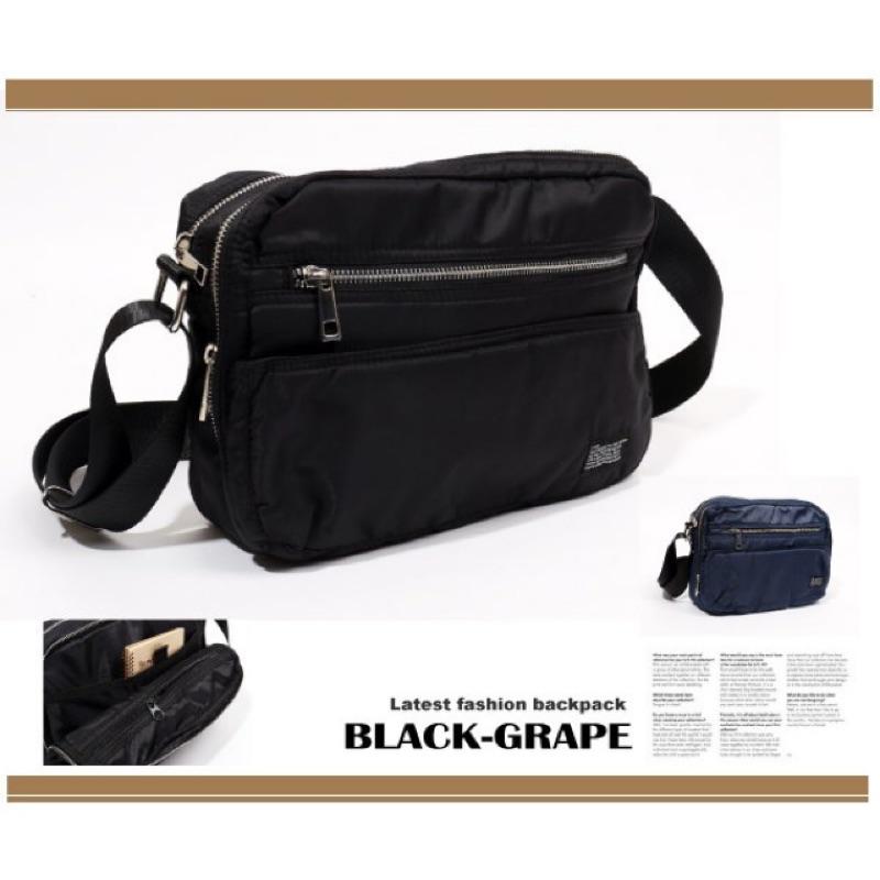 日系普普風尼龍側背包→小改款多層置物袋斜背包~L9071A ~黑葡萄包包