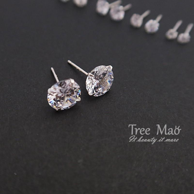 S925 純銀耳環Tree Mao 四爪鑽耳環圓鑽鋯石耳環一對925 銀飾耳針純銀耳環92