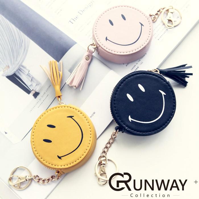~現預~韓國笑臉表情流蘇裝飾荔枝皮紋迷你零錢包手機包零錢包鑰匙卡包手拿包耳機包