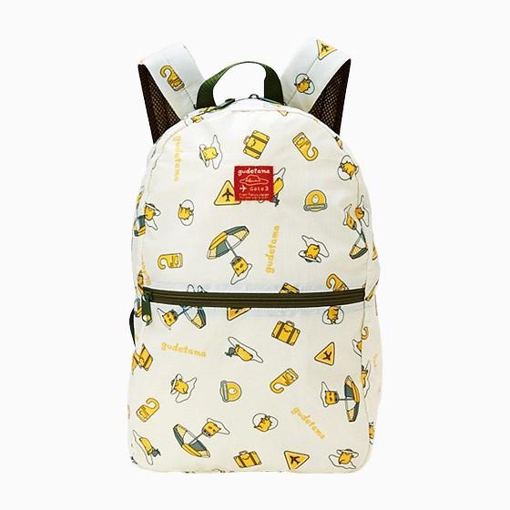 紅豆 小舖連線 三麗鷗Gudetama 蛋黃哥 懶懶蛋可折疊後背包~淺黃多動作大洋傘滿版~
