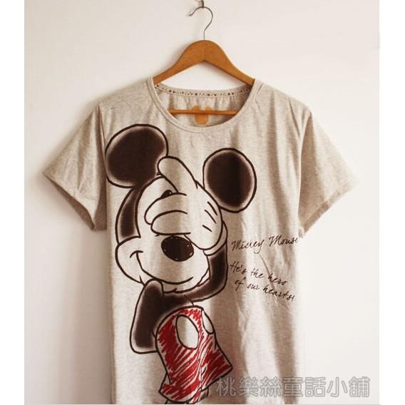 Dinsey 迪士尼正品原單可愛女裝害羞米奇水鑽舒適棉質短袖女生T 恤米奇米妮M 3L 號
