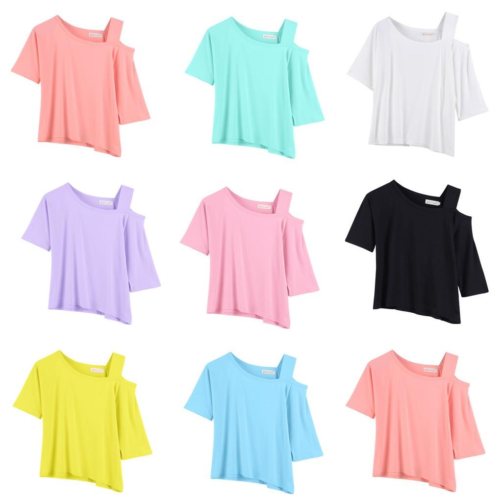 春 bf 學院風露肩短款寬松短袖T 恤女一字領純色吊帶上衣潮