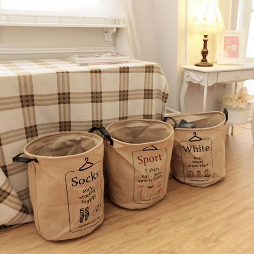 ~小時候 屋~韓風居家 分類英文字麻布洗衣袋3 款麻布袋收納籃防塵袋置物袋