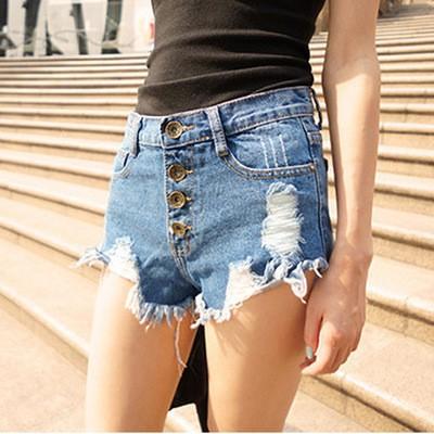 S A S ✨ ✨韓破洞抽鬚高腰顯瘦修身牛仔短褲