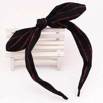 蝴蝶結髮箍髮飾萌萌D 紅條紋黑底