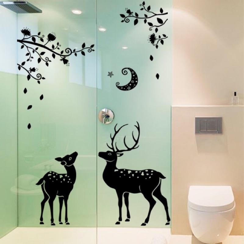 馴鹿 壁貼黑白系列動物系列室內佈置裝置藝術重複撕貼聖誕兒童房間客廳廚房浴室佈置文藝氣息