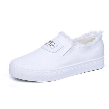 白色帆布鞋女學生 平跟平底休閒鞋一腳蹬懶人鞋板鞋布鞋子
