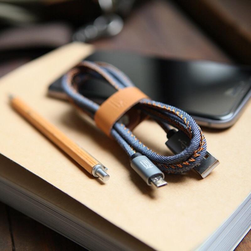 牛仔布單寧牛仔手機充電線iPhone iPad Android micro USB
