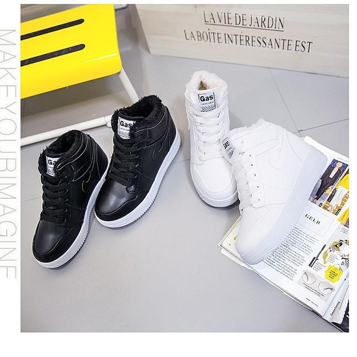 2016  內增高 鞋女加絨休閒鞋女高幫系帶小白鞋純色8