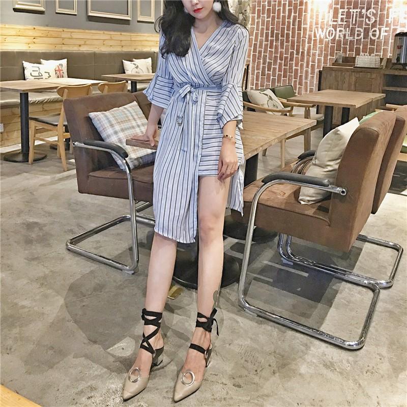 2017 夏款 氣質洋裝 V 領舒適顯瘦高腰綁帶連衣裙喇叭袖條紋不規則開叉中長裙