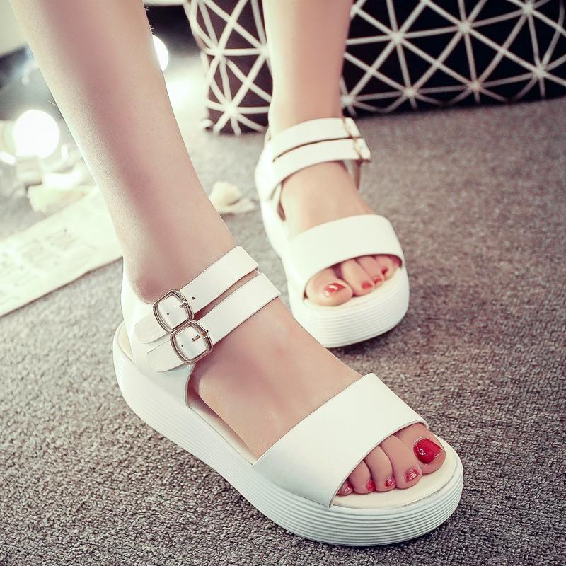 鞋館 羅馬中跟女鞋厚底鬆糕鞋學生 平底露趾休閒涼鞋